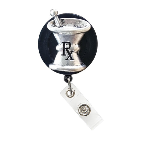 3D RX Mortar & Pestle Badge Holder, Badge Clip, Retractable ID Badge Holder