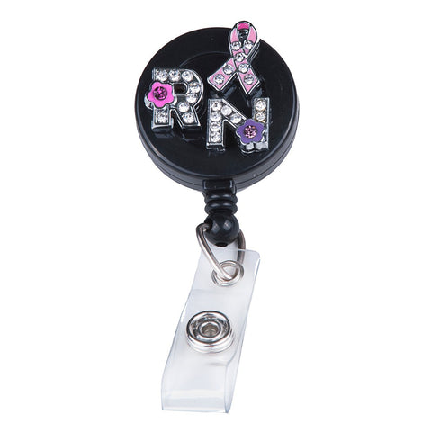 breast cancer locket badge, nurse badge reel, retractable badge holder, pink ribbon badge reel, cute badge reel