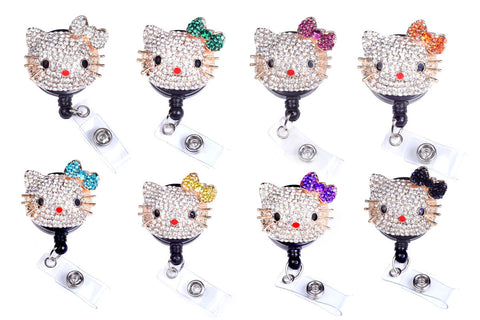 hello kitty badge reel, cute badge reel, bling badge reel, bling badge holder, retractable badge reel, nurse badge reel, RN badge reel, teacher badge reel, pharmacy tech badge reel, labor and delivery badge reel