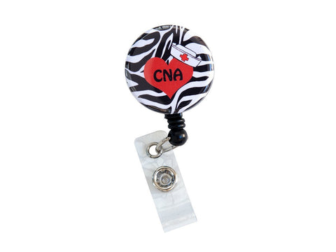 SIZZLE CITY Custom Retractable Badge Reel ID Badge Holder: CNA Zebra Heart