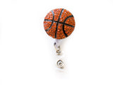 SIZZLE CITY Custom Bling Rhinestone 3D Basketball Badge Reel Retractable ID Badge Holder