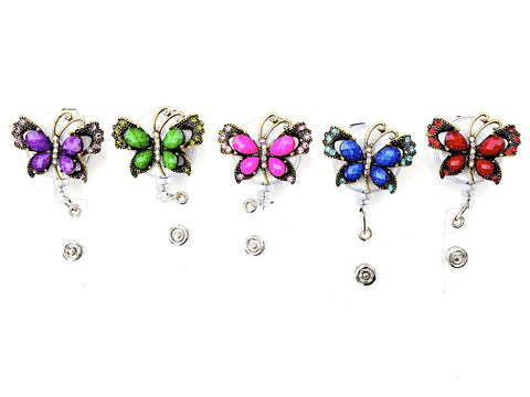 SIZZLE CITY Custom Bling Colored Rhinestone Jewel Butterfly Badge Reel Retractable ID Badge Holder