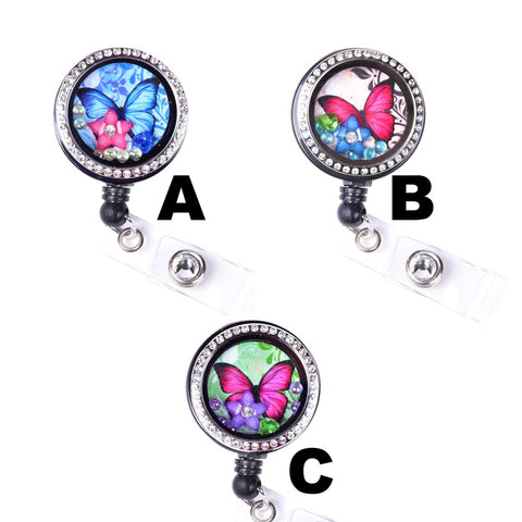 Colored Butterfly Floating Flower Charm Locket Badge Reel