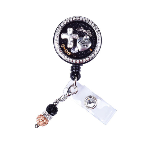 faith badge reel, cross locket badge, nurse locket badge, floating charm locket