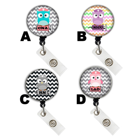 Custom Cute Owl Badge Reel Retractable ID Badge Holder