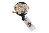 Bling Rhinestone 3D Elephant Badge Reel Retractable ID Badge Holder