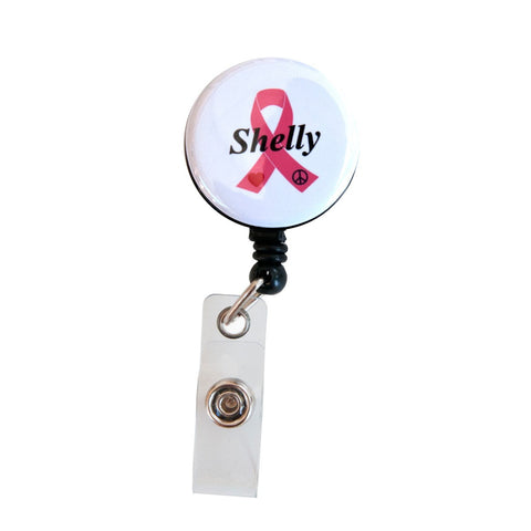 Customized Pink Breast Cancer Ribbon Badge Reel Retractable ID Badge Holder