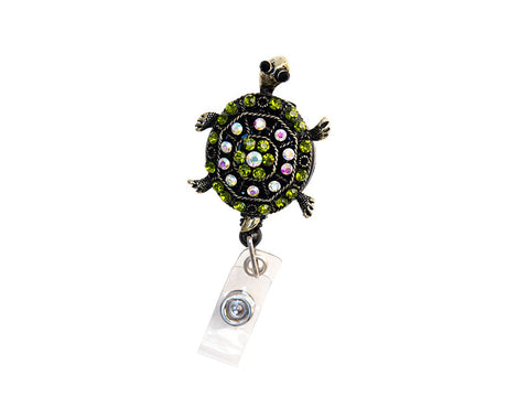Custom Bling Green Rhinestone Turtle Badge Reel Retractable ID Badge Holder