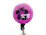 SIZZLE CITY Custom Hawaiian Hibiscus Flower RN Badge Reel Retractable ID Badge Holder