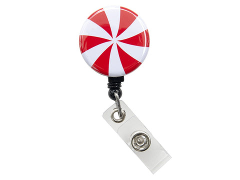 Christmas Candy Cane Badge Reel Retractable ID Badge Holder