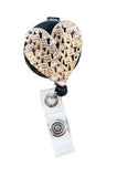 SIZZLE CITY Custom Colored Bling Rhinestone Love Heart Badge Reel Retractable ID Badge Holder