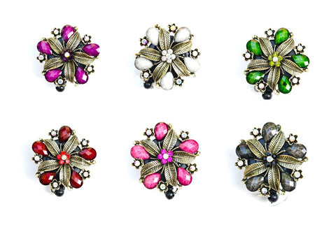 Bling Hawaiian Hibiscus Flower Badge Reel Rhinestone Retractable ID Badge Holder