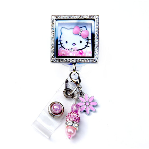 Square Hello Kitty Charm Locket Badge Reel Retractable ID Badge Holder