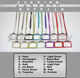 Wholesale Bulk Discounted Horizontal ID Badge Holder Colored Rhinestone Lanyards
