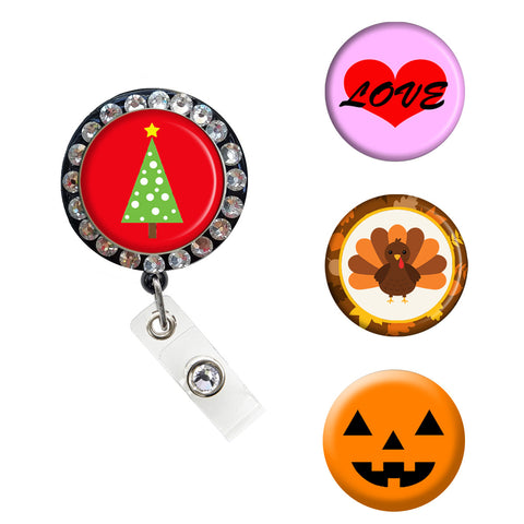 holiday badge, nurse badge clip, retractable badge holder, cute badge holder, Halloween, Christmas, Thanksgiving, valentines day