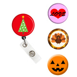 holiday badge reel, Christmas badge, Thanksgiving badge, Halloween  Badge, nurse badge, teacher badge holder
