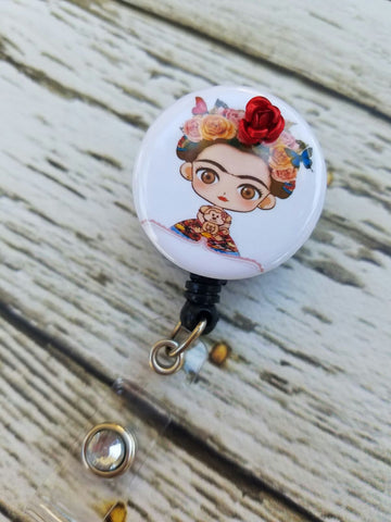 frida kahler, badge reel, nurse badge, rn nadge, retractable badge reel, nurse badge reel
