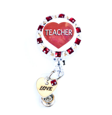 SIZZLE CITY Custom Rhinestone Retractable ID Badge Reels: We Love Teachers