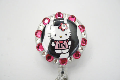 SIZZLE CITY Custom Retractable ID Badge Reels: Pink & Black Zebra Hello Kitty RN