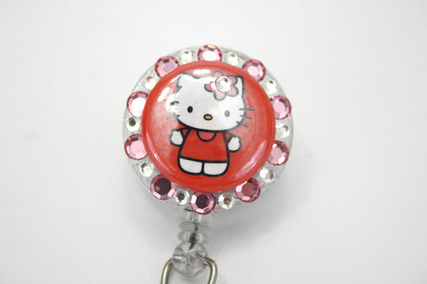 Cute Flower Hello Kitty Badge Reel Retractable ID Badge Holder