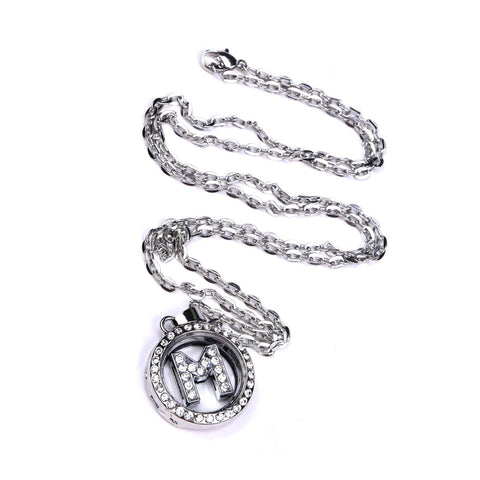 Mini Rhinestone Letter Sterling Silver Charm Locket Necklace