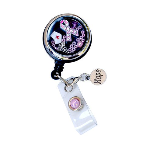Pink Rhinestone Ribbon Nurse Hat Retractable Custom Locket ID Badge Holder