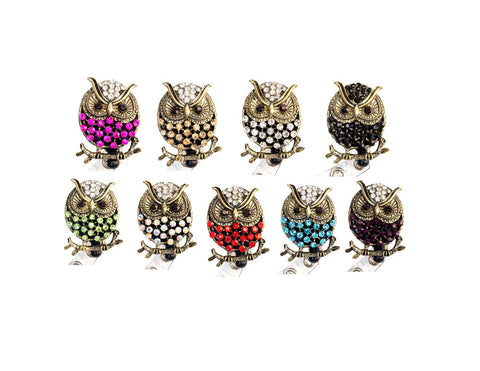 Bling Rhinestone Owl Badge Reel Retractable ID Badge Holder Collection