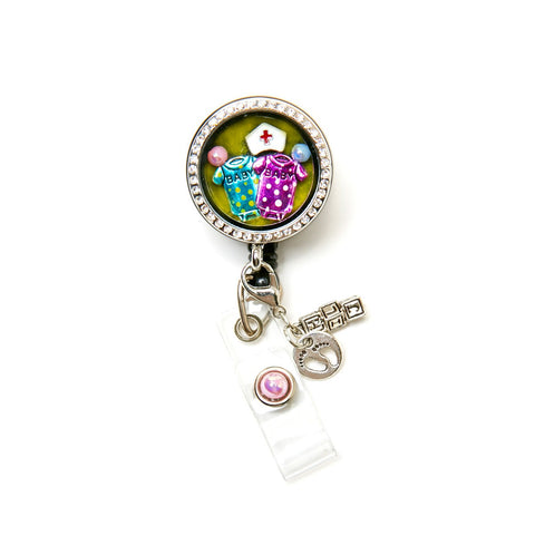 Baby Polka Dot Onesie Charm Locket Retractable ID Badge Holder