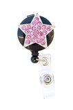 SIZZLE CITY Custom Bling Rhinestone Star Badge Reel Retractable ID Badge Holders