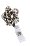 Raised Bling Rhinestone Pedal Flower Badge Reel Retractable ID Badge Holder