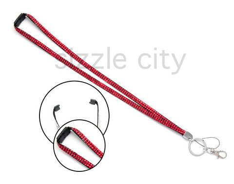 Overstock Sale - Custom Red Bling Breakaway Rhinestone Lanyards
