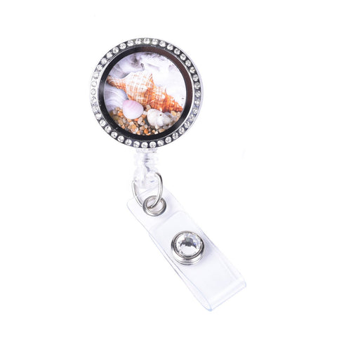 beach locket, locket badge, badge reel, nurse badge reel, id badge holder, retractable badge clip, floating charm, RN badge holder, Labor and delivery badge holder, cute badge reel