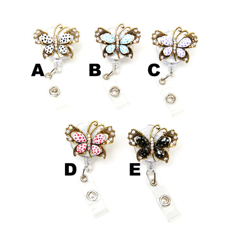 Bling Jewel Butterfly Retractable ID Badge Holder