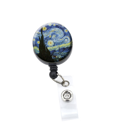 starry night badge reel, cute badge holder, retractable badge reel, badge clip, nurse badge, rn badge