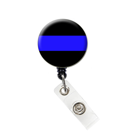 Thin Blue Line ID Badge Reel Retractable Badge Holder
