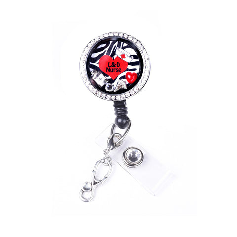Zebra L&D Nurse Heart Charm Locket Retractable Badge Reel