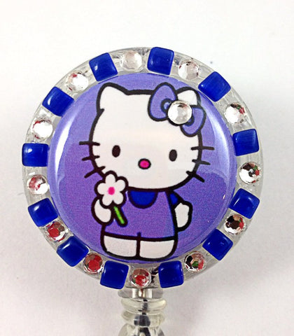 SIZZLE CITY Custom Retractable ID Badge Reels: Purple & Blue Flower Power Hello Kitty