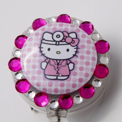 SIZZLE CITY Custom Retractable ID Badge Reels: Dr. Hello Kitty MD.