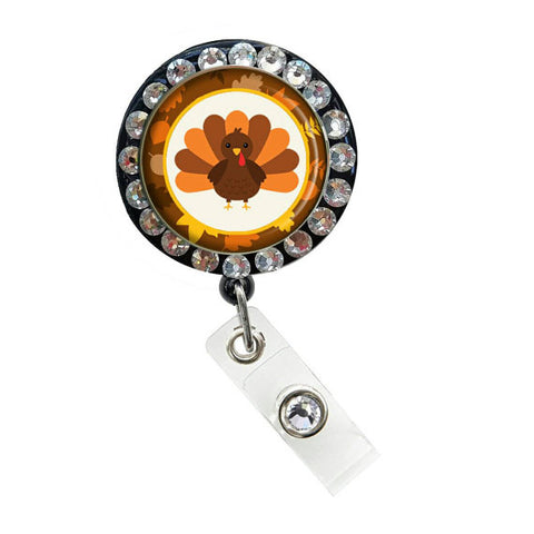 Thanksgiving Holiday ID Badge Reel Nurse Retractable Rhinestone Badge Reels/ ID Badge Holder