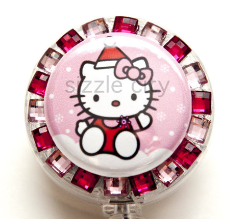 Christmas Kitty Badge Reel Retractable ID Badge Holder