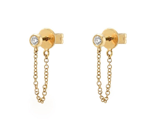 Bezel Diamond Drop Chain Earrings