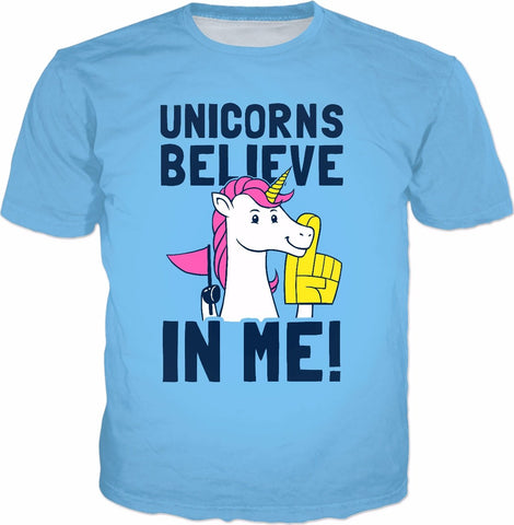Unicorns Believe In Me T-Shirt - Positive Wholesome UFO