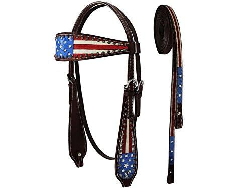 Tahoe Tack Patriotic American Flag Browband Headstall with Reins, Dark Oil