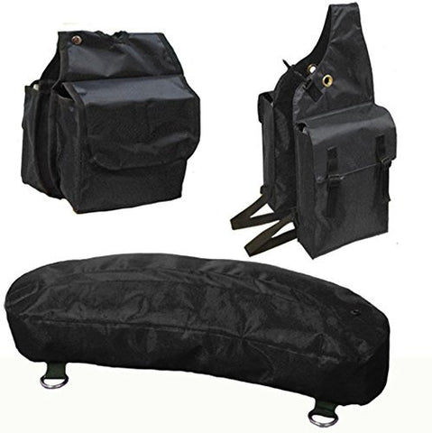 Tahoe Nylon Saddle Bags for Trail Riding (Set of 3), Black