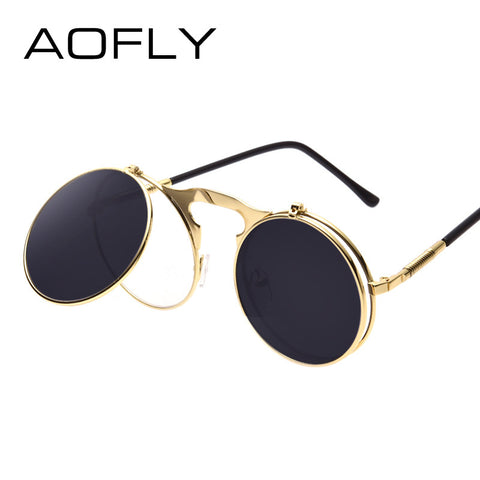 Retro Vintage Round Flip up Sunglasses