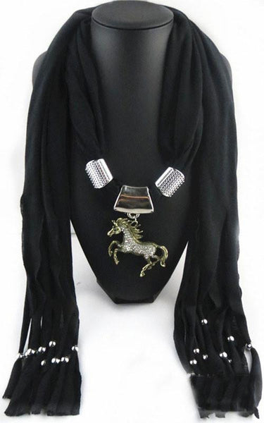 Horse Pendant Necklace & Scarf