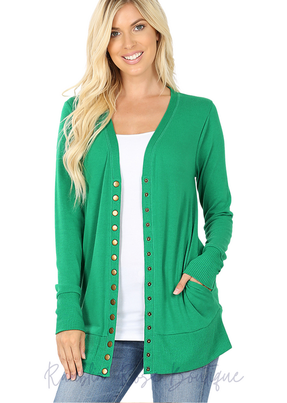 Snap Front Cardigan - Plus