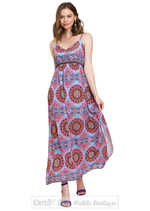 Medallion Print Spaghetti Strap Dress