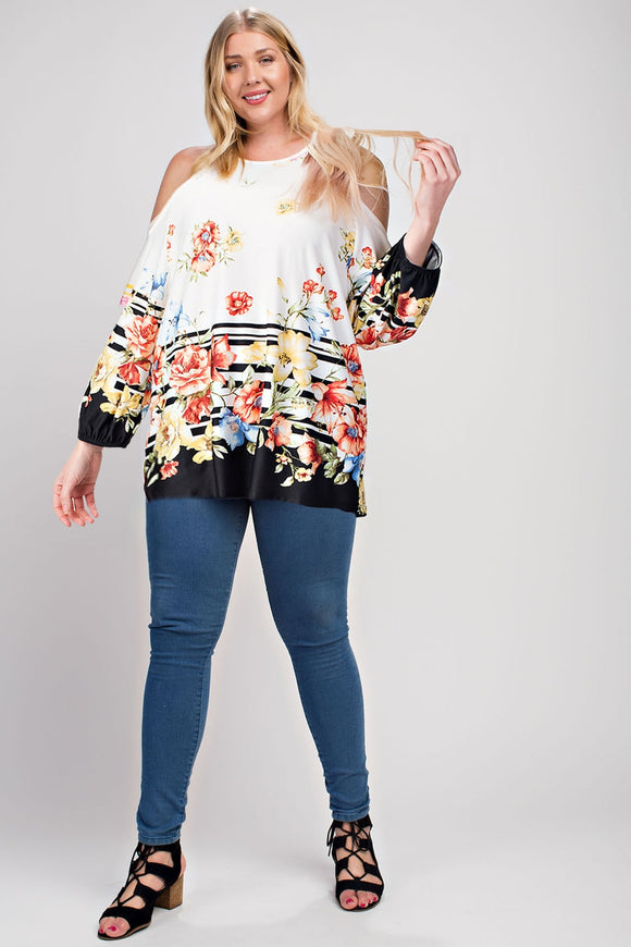 Floral Cold Shoulder Top - Plus