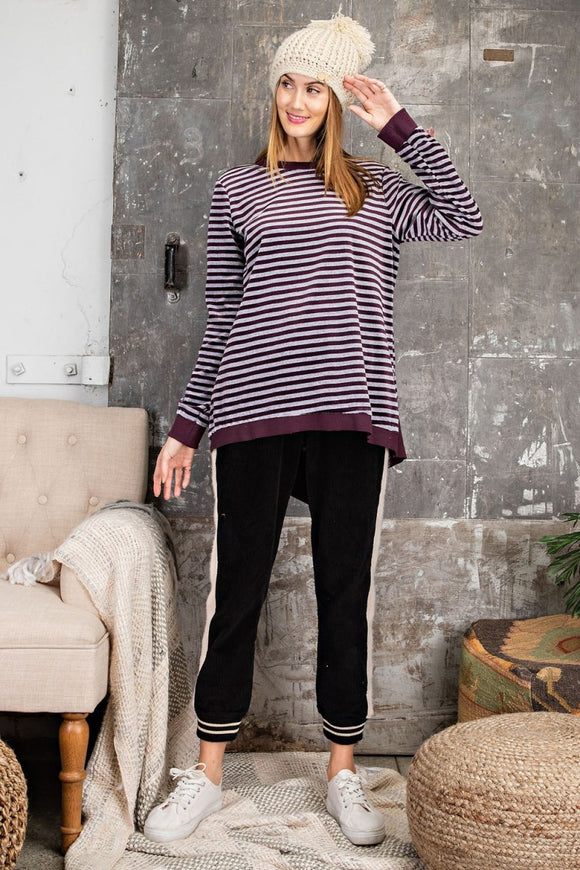 Velvety Stripe Tunic Top